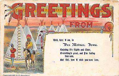 NATIVE AMERICAN Indian Postcard 1909 DES MOINES IOWA Tepees Chief Greeting 181