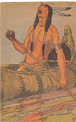 NATIVE AMERICAN Indian Postcard c1910 CANOE Paddle Art Warrior 196