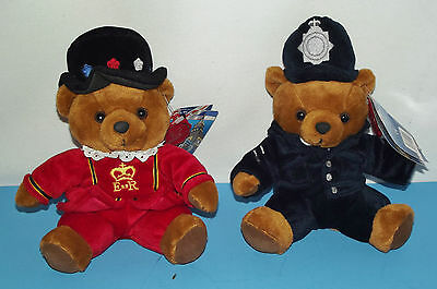 2 Bears of the United Kingdom Policeman Bobby & Beefeater Bear Plush Keel Toys