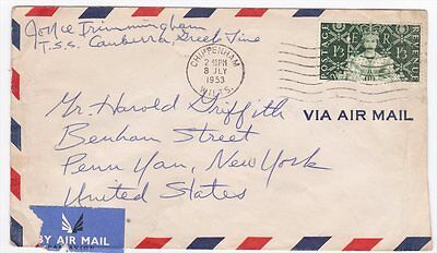 Great Britain Chippenham Wilts to US 1953 Airmail Cover TSS Cambria Sc 315