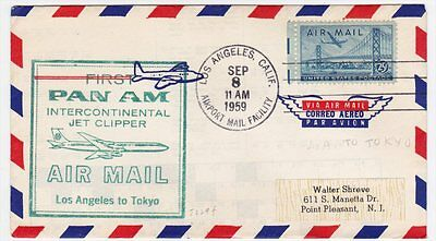 Los Angeles CA to Japan Tokyo 1959 Jet Clipper First Flight cover