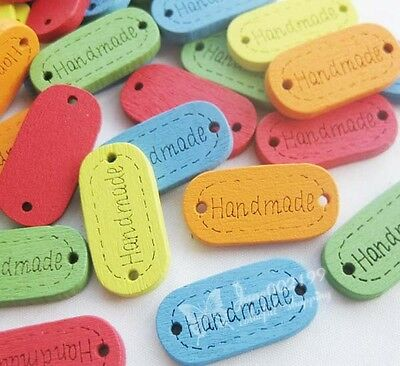 """100pcs 24*12mm Colorful """"Handmade"""" Wood Buttons 2Holes Sewing Crafts NK092"""