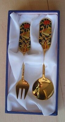Fork And Spoon Boxed Set Gold Plated with Enamel Animals Flowers Korean Folk Art