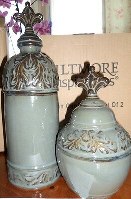 BILTMORE INSPIRATIONS PISGAH CANISTER SET OLIVE GREEN&BROWN CERAMIC 2 PC NEW