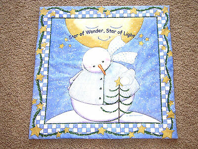Christmas Holiday Snowman Tree Star Snow Blue White Wall Door Hanging Decoration