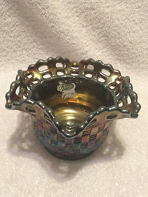 Fenton Amethyst Carnival Bowl with Lace Edge and Basket Weave Pattern