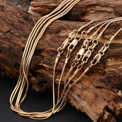 """Bulk Wholesale Excellent 5pcs 22"""" 18K Yellow Gold Plated Snake Chain Necklace"""