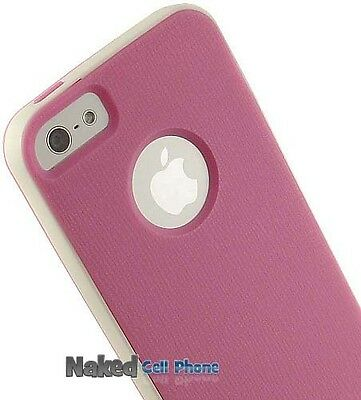 PINK/WHITE HYBRID CASE COVER TPU RUBBER SKIN HARD BUMPER FOR APPLE iPHONE 5 5s