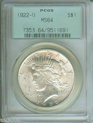 1922-D PEACE SILVER DOLLAR PCGS MS64 MS-64 GREEN HOLDER