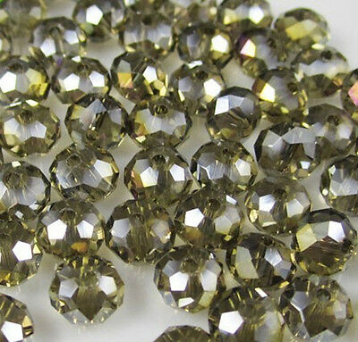 DIY Jewelry Faceted 100pcs Rondelle crystal #5040 3x4mm Beads gray AB colors NEW