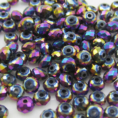 NEW DIY Jewelry Faceted 100pcs Rondelle crystal #5040 3x4mm Beads plated purple
