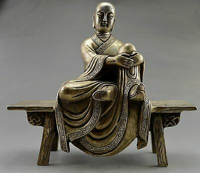Collectible Decorated Old Handwork Tibet Silver Carved Buddha Sit Bench Statue