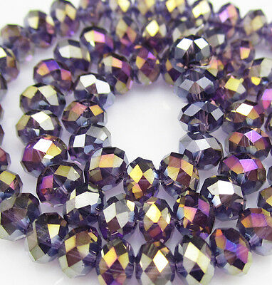 DIY Jewelry Faceted 100pcs Rondelle crystal #5040 3x4mm Beads Purple AB colors