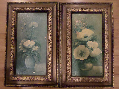 A Pair of Andres Orpinas Original Oil Paintings Flowers Framed Signed