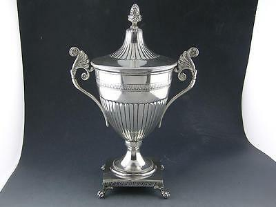 800 Silver Trophy Cup w/ Lid - classical acanthus leaves acorn finial claw feet