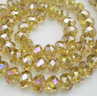NEW DIY Jewelry Faceted 100pcs Rondelle crystal #5040 3x4mm Beads Yellow AB