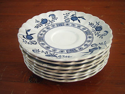 JG Meakin Blue Nordic Onion Classic White Swirl Ironstone 7 Saucers with crazing