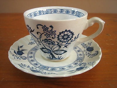 JG Meakin Blue Nordic Onion Classic White Swirl Ironstone 1 Cup Saucer Set