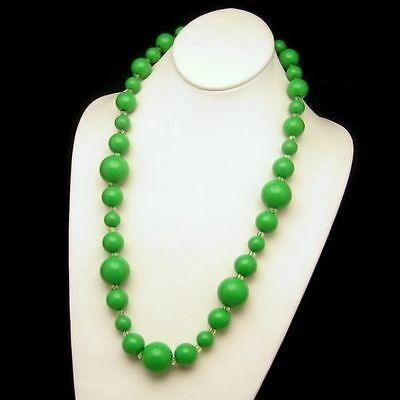 Large Chunky Bright Green Beads Necklace Vintage Long 26.5 Inches
