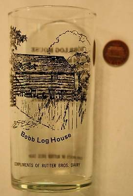 1950-60s York,Pennsylvania Bobb Log House souvenir glass-Rutter Brothers Dairy!