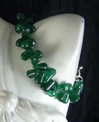 84Cts NATURAL GREEN JADE DRILLED DROP SHAPE BEADS BRACELET