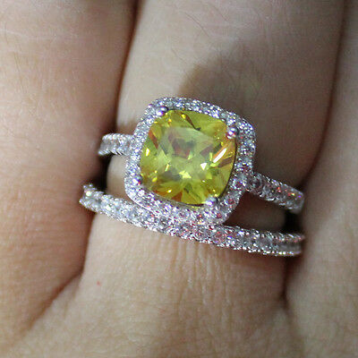 size 10 Women's 925 Silver Filled Cushion-cut Yellow Topaz CZ Paved Ring Set