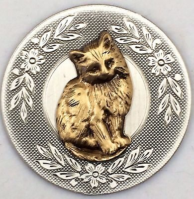 """Sterling Silver Overlay On Stamped Brass~""""KITTEN"""" Picture Button~1 1/2"""""""