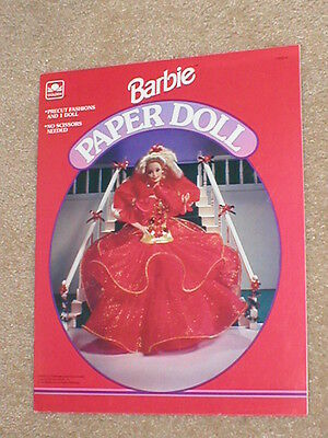 Barbie 1993 Paper Doll New~No Scissors Needed~Holiday Costumes~Mattel~Tote~Box