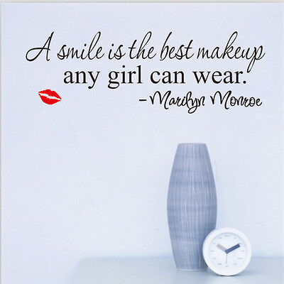Smile is Makeup Marilyn Monroe Quote Removable Vinyl Wall Sticker Art Home Decor