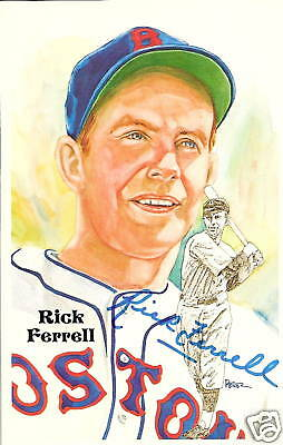 RICK FERRELL AUTOGRAPHED LIMITED EDITION PEREZ STEELE ART POSTCARD RED SOX