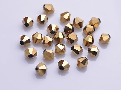 150pcs 3mm Bicone Faceted Crystal Glass Loose Spacer Beads Findings Gold Plated