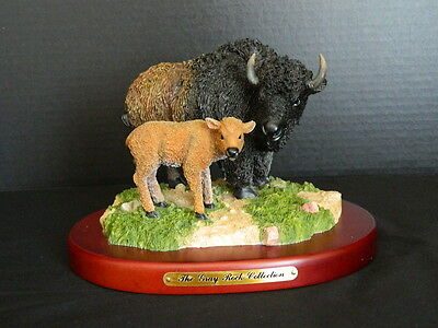 Bison Buffalo & Calf Figurine Sculpture Amy & Addy Gray Rock Collection Western