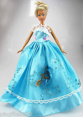 Fashion New Handmade Wedding Dress Clothes Outfits For Barbie Doll #747