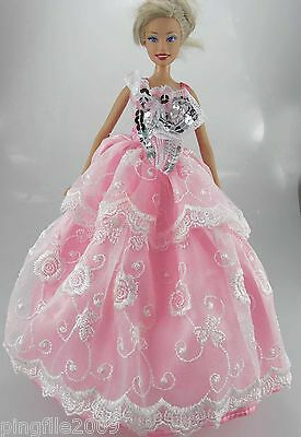 Fashion New Handmade Wedding Dress Clothes Outfits For Barbie Doll #798