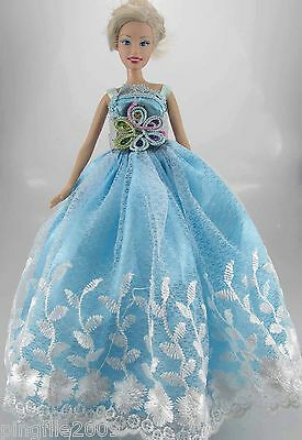 Fashion New Handmade Wedding Dress Clothes Outfits For Barbie Doll #790