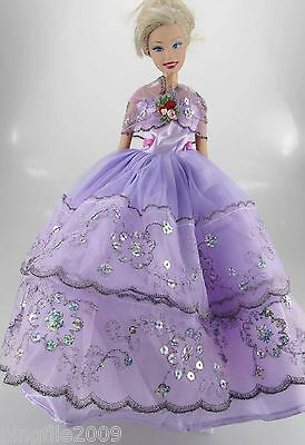 Fashion New Handmade Wedding Dress Clothes Outfits For Barbie Doll #800