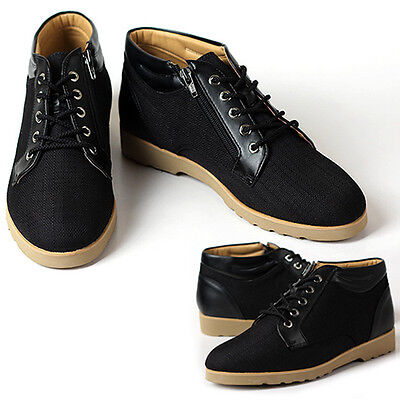 New Gentle Mens Sneakers Black Casual Lace Up Ankle Boots Shoes US 9.5