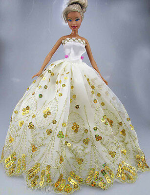 Fashion New Handmade Wedding Dress Clothes Outfits For Barbie Doll #757