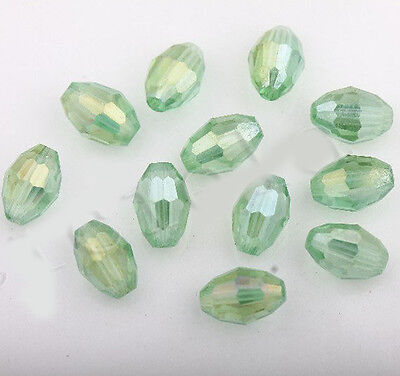 50Pcs Light Green AB Czech Crystal Glass Spacer Loose Beads Jewelry Making 8x6mm