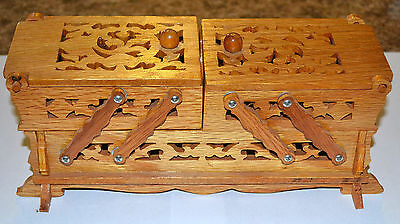 VINTAGE HAND CRAFTED LAYERED WOOD BOX, TRINKET, JEWELRY, SEWING, MUST LQQK!
