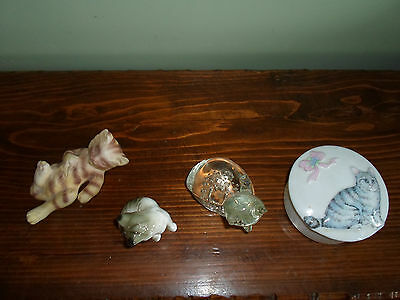 4 Piece Cat Kitten Figurine Collectable Lot - Trinket Box - Crystal Paperweight