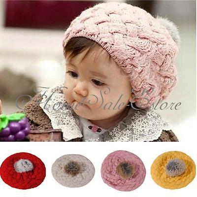 1pcs Baby Girl Toddler Kid Winter Warm Knitted Crochet Beanie Hat Cap Fluff Ball