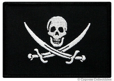 PIRATE FLAG iron-on PATCH JOLLY ROGER Skull BIKER embroidered CALICO JACK WHITE