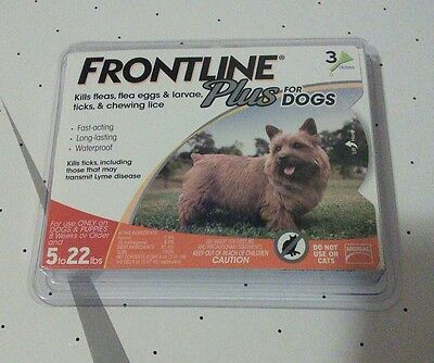 FRONTLINE PLUS FOR DOGS 0-22LBS!! 3 MONTH SUPPLY! NEW FACTORY SEALED BOX!!