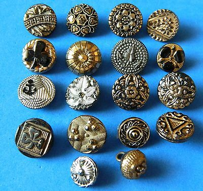 LOT 18 Small Black Glass Buttons w/ FLASHING  Antique Vintage Victorian
