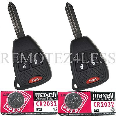 2 New 3b Remote Head Uncut Ignition Key Combo Fob OHT692427AA + Extra Battery