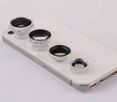 4in1 Fish eye+Telephoto+Wide Angle+Micro Lens for iPhone 5 5S 4 4S  Blackberry