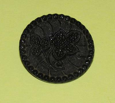 "BIG VTG Antique ~ VICTORIAN Black MOLDED GLASS Picture BUTTON ~ 1-1/4"" Ornate"
