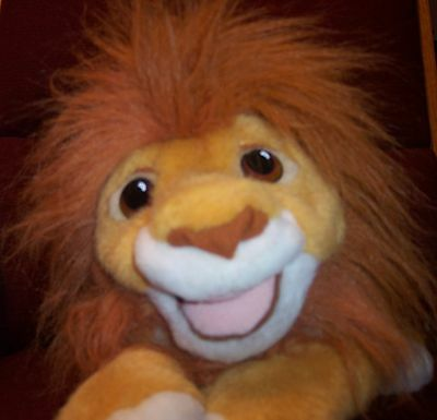 Vintage Authentic Disney The Lion King Simba Plush Roaring Sound Hand Puppet