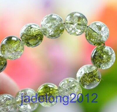 50pcs Olive green Charm Crystal Crack Glass Round Loose Spacer Beads 6MM